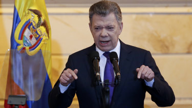 Colombian President Juan Manuel Santos speaks during the inauguration of the newly-elected legislature.