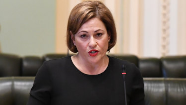 South Brisbane MP Jackie Trad giving her explanation to State Parliament on Thursday.