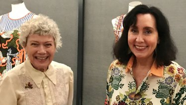 Brisbane fashionistas Lydia Pearson (left) and Pamela Easton pictured at the launch of the new Museum of Brisbane exhibition.