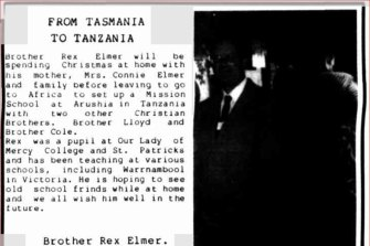 Tasmania's Western Tiers newspaper ran an item in 1988 about Elmer's posting to Tanzania.