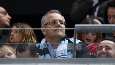 Zero tolerance: Prime Minister Scott Morrison in the crowd during a Cronulla Sharks game.