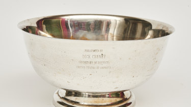 A bowl with an inscription from former US vice-president Dick Cheney.