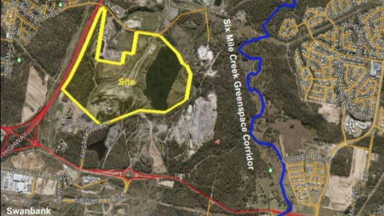 Map showing Ipswich's super dump site is beside Ipswich's Six Mile Creek. The explosives storage site is in the centre of the dump application.