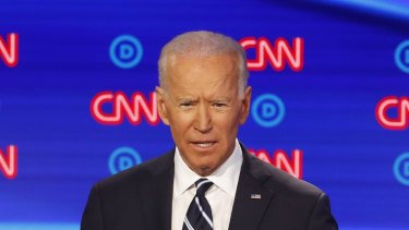 Former vice-president Joe Biden speaks during the second of two Democratic presidential primary debates hosted by CNN.