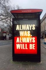 Broadway Market bus stop in London.