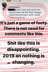 Latrell Mitchell takes to Instagram to post the shocking racist message sent to him by a troll.