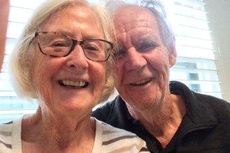 With childhood sweetheart Meg, 60 years on.