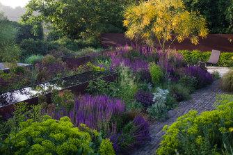 A courtyard garden in Hertfordshire, southern England.