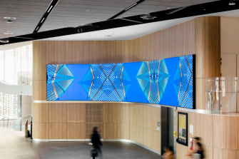 The UTS Art On Campus video on a 12 metre screen takes art to passers by in Broadway. Pictured is Morris' Barkindji Blue Sky - Ancestral Connections #10, commissioned by UTS