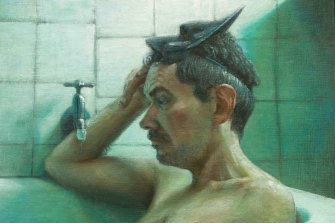 """Harley Manifold's portrait of another artist, Gareth Colliton, sitting in the bath, might be best described as a """"conversation piece"""""""