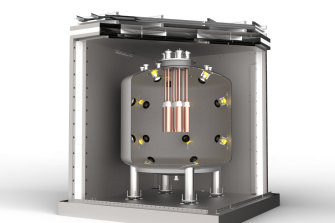 A cutaway of the dark matter detector. The copper tubes containing the crystals are at the centre.