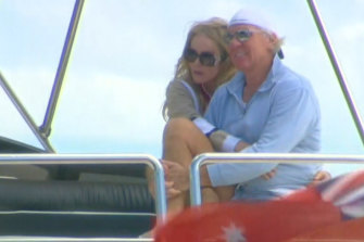 Mark Simonds and wife Cheryl on board the Lady Pamela while moored in the Clarence River at Yamba on the weekend.