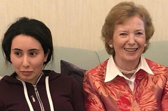 Latifa with ex-Irish president Mary Robinson in late 2018; this is the only proof her friend Tiina has that the princess is still alive.