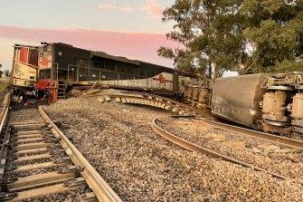 The train derailment on Thursday morning.