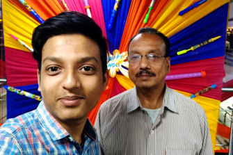 Swapnil Rastogi, left,could not procure oxygen for his father, Raj Kumar, right, inLucknow, India.