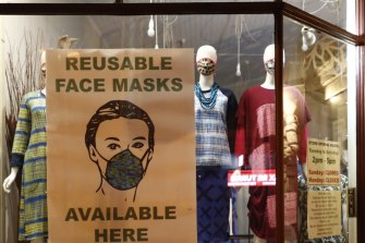 A shop on Sydney Road in Brunswick, Melbourne, displays a collection of face masks.