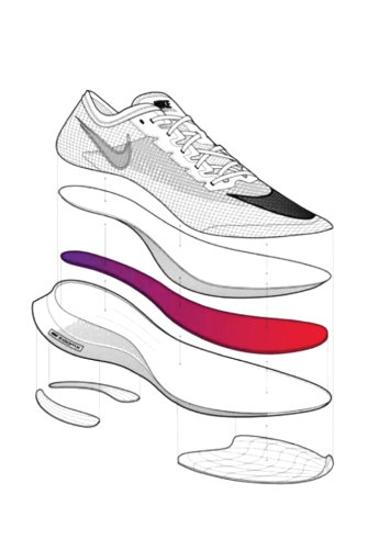 A cross-section of a Vaporfly shoe showing the carbon fibre plate (in pink) sandwiched between squishy foam midsoles.