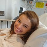 The always smiling Amelia Lucas before surgery.