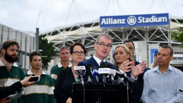 Michael Daley holds a press conference outside Allianz Stadium on Thursday.