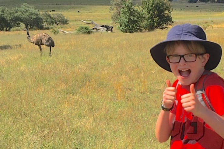 """Thirteen-year-old Conor McLauchlan and """"friend"""" on the Birrigai Time Trail."""