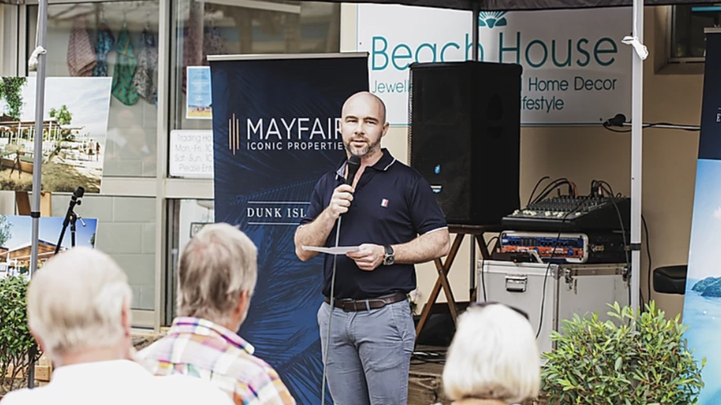 James Mawhinney talks up the Dunk Island tourism project in a Mayfair promotion.