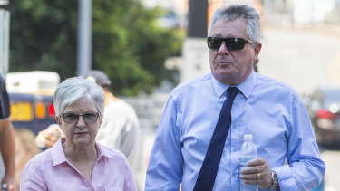 Rae and Colin Betts are seen leaving the Coroners Court in Brisbane on Wednesday.