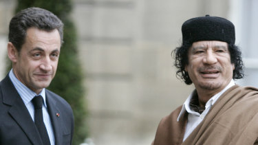 Libyan dictator Muammar Gaddafi (right) with then French president Nicolas Sarkozy in Paris in 2007.
