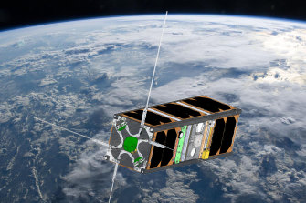 A mock-up image of the CUAVA-1 satellite.