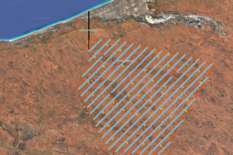 The blue lines represent wind turbines, the yellow squares solar arrays.