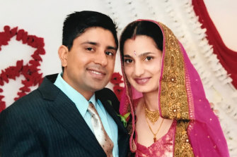 Kulwinder Singh (left) faced trial accused of murdering Parwinder Kaur (right) by lighting her on fire.