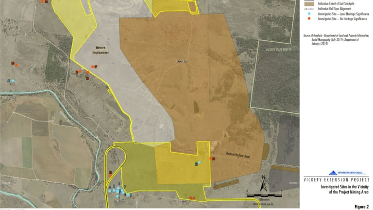 Map showing proximity of homestead and outbuildings to proposed mine extension area and rail spur.