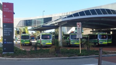 Ambulances ramped outside Sir Charles Gairdner Hospital emergency department on Monday, March 12.
