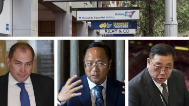 Former NSW Labor general secretary Jamie Clements, Chinese billionaire Huang Xiangmo and former Labor MP Ernest Wong.