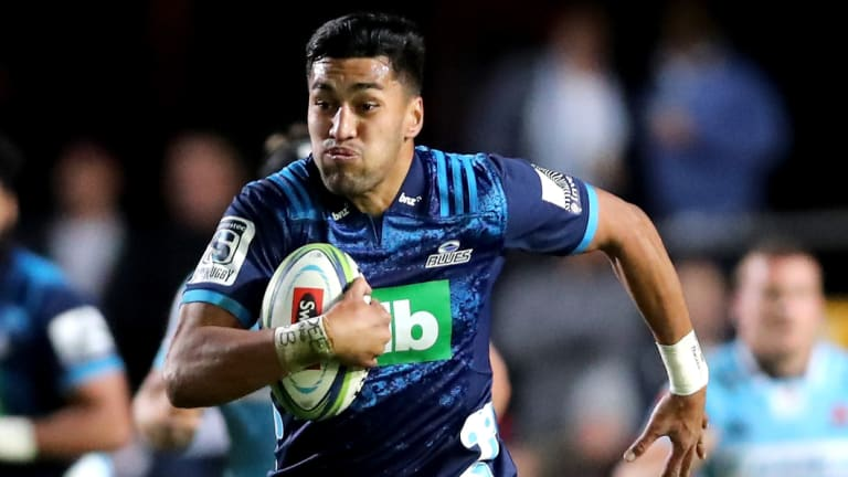 Flyer: Rieko Ioane bagged four tries against two opponents in the All Blacks trial.