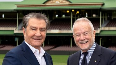 Staying put: Roosters chairman Nick Politis and Sydney Cricket and Sports Grounds chairman Tony Shepherd.