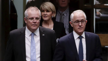 Scott Morrison and Malcolm Turnbull at Parliament House on Thursday.