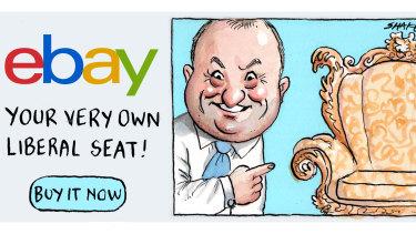 Liberal MP Jason Wood has a lucrative side-hustle: antiques. Illustration: John Shakespeare