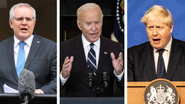 Scott Morrison, Joe Biden and Boris Johnson launched the AUKUS alliance last week to counter the rise of China in the Indo-Pacific.