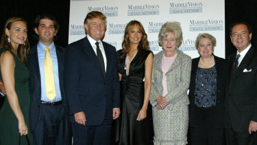 Family ties: Trump family members at a  2005 gala auction in New York. From left: Vanessa Haydon, Donald Trump, Jr, Donald Trump, wife Melania, Judge Maryanne Trump Barry, Elizabeth Trump Grau and husband James Grau.