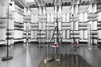 A Supersonic hairdryer is tested in the extremely expensive acoustics lab.