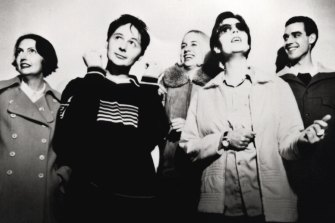 Stereolab (from left)  Mary Hansen, Tim Gane, Morgane Lhote, Laetitia Sadier, Richard Harrison in 1997.