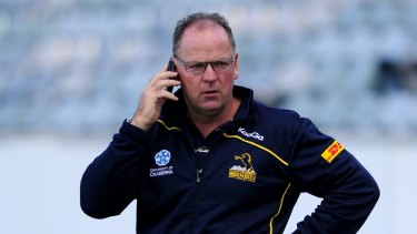 Incoming call: Jake White, seen here coaching the Brumbies, will speak to Rugby Australia on Thursday.