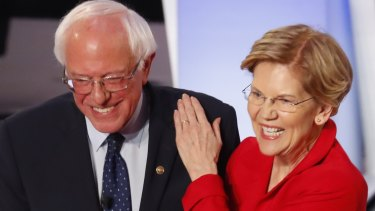 Friends and fierce opposing candidates: Bernie Sanders and Elizabeth Warren.