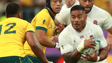 Juggernaut: Manu Tuilagi was at his destructive best during the World Cup and has now been targeted to join the man he beat in the semi-final, Sonny Bill Williams.