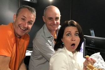 4KQ's breakfast team of Mark Hine (left), Gary Clare and Laurel Edwards have surged to top spot in the latest ratings.