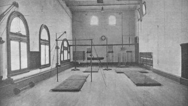 The gymnasium in 1910, when the station's recreational spaces were opened.