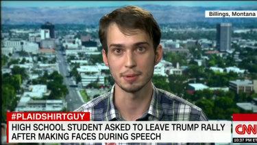 #PlaidShirtGuy Tyler Linfesty, 17, on his CNN appearance.
