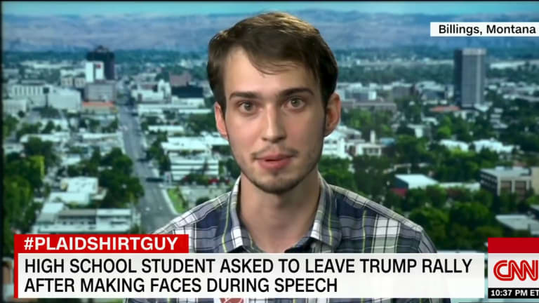#PlaidShirtGuy Tyler Linfesty, 17, on his CNN appearance.