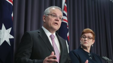 Prime Minister Scott Morrison and Minister for Foreign Affairs Marise Payne address the media during a press conference on Australia's embassy in Israel, at Parliament House in Canberra.