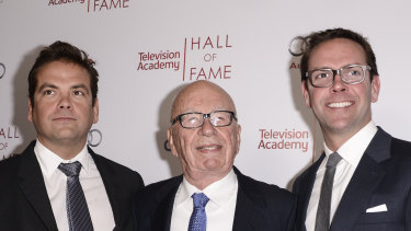 In more united times: Lachlan Murdoch, Rupert Murdoch and James Murdoch at the 2014 Television Academy Hall of Fame in Beverly Hills, California.